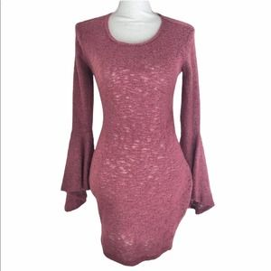 NWT Go Couture Bell Sleeve Sweater Tunic, Size S